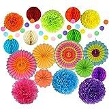 誕生日 飾り付け セットペーパーファン完璧な装飾 耐久性 高品質カラー20個セット