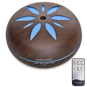 WERPOWER アロマディフューザー 超音波式 卓上加湿器 7色変換LED搭載 550ml リモコン付き 木目調 黒