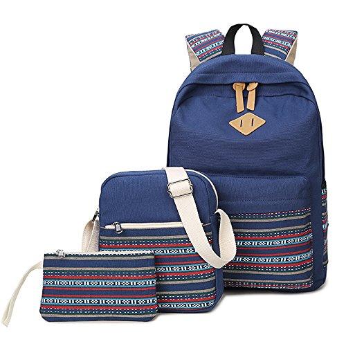 エスニックフラワーパターンキャンバススクールバッグセット、バックパック+メッセンジャーバッグ+財布/鉛筆ケース、ジッパーCollege Laptopバックパックfor Teenagers女の子子供用 ブルー