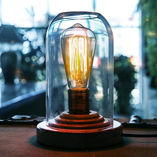 OYGROUP ロフト 照明 北欧 デスクライト ガラス製シェード 木製スタンド