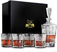 Van Daemon Whisky Decanter (750ml) and Set of 4 Whiskey Glasses (300ml). Ultra Clarity Glass 'Arthur' for