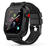 Apple Watch 44mm ケース バンド 一体 アップルウォッチ4 バンド カバー 落下衝撃 吸収 シリコンバンド 柔らかい スポーツに向け 交換バンド 装着簡単Apple Watch Series 4に対応(ブラック 44mm)