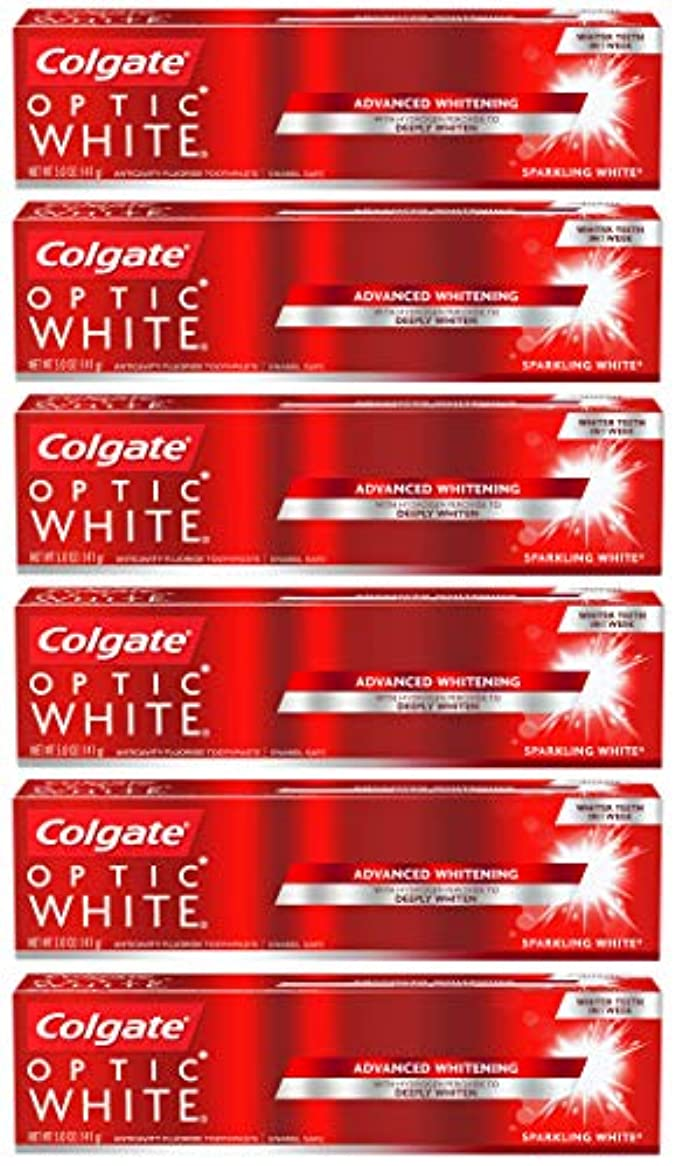 来て魔女容器Colgate オプティックホワイトホワイトニングの歯磨き粉、スパークリングミント - 5オンス(6パック)