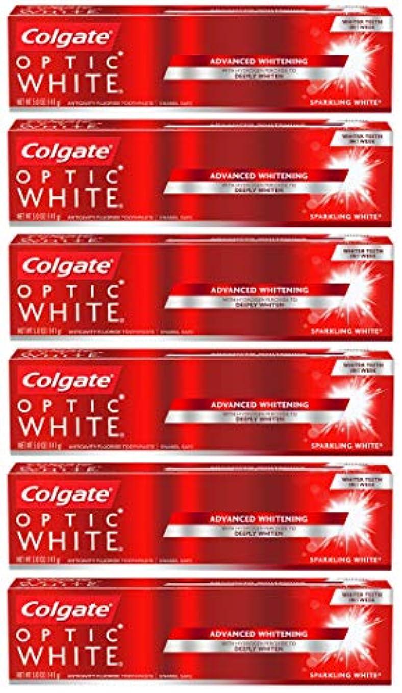 うなり声スーパーマーケット知人Colgate オプティックホワイトホワイトニングの歯磨き粉、スパークリングミント - 5オンス(6パック)