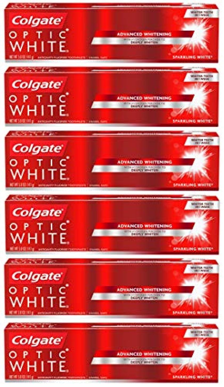 活発発見するチーターColgate オプティックホワイトホワイトニングの歯磨き粉、スパークリングミント - 5オンス(6パック)