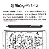【最新バージョン】スタイラスペン タッチペン iPadとiPhoneに適用する タブレット スマートフォン対応 極細 充電式 高感度 軽量 イラスト ツムツム 4分後自動オフ Bluetooth不要 交換可能のペン先(ブラック) 画像