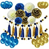 46pcs DIY Navy Blue Gold Party Decorations Supplies Blue Birthday Baby Shower Pary Decor Navy Blue Gold Cream Paper Pom Poms Balloons Navy Blue Dot Paper Garland Wedding Bridal Shower [並行輸入品]