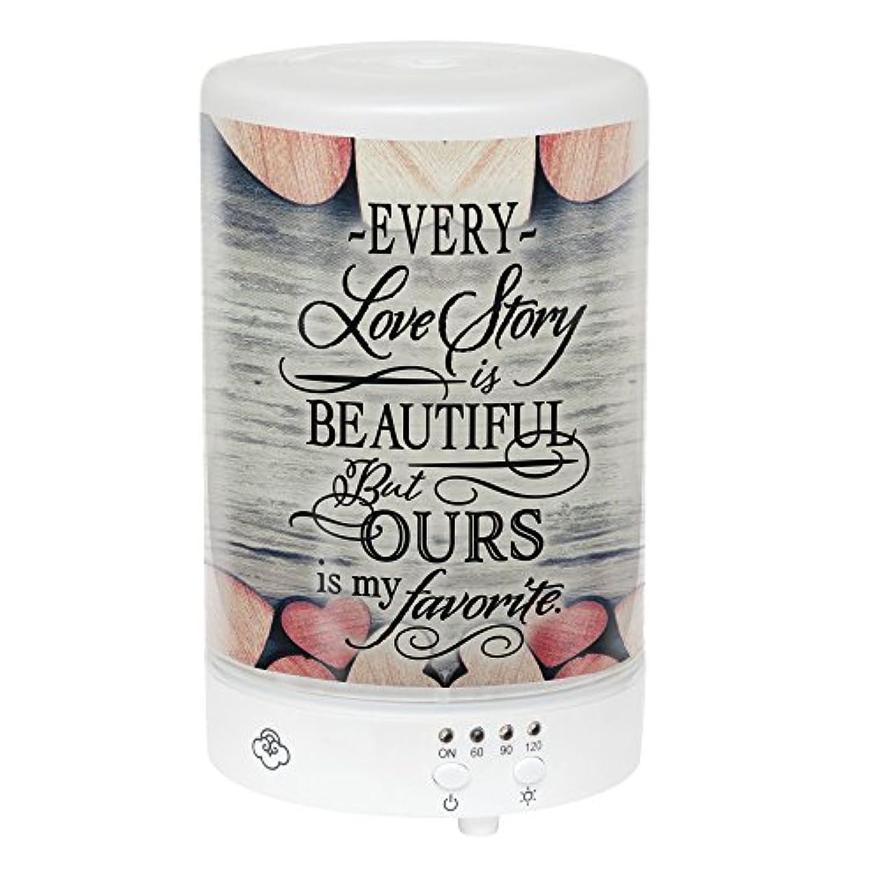テクスチャー折り目軸Elanze Designs Love Story Ours My Favorite Hearts フロストガラス 8色LEDライトエッセンシャルオイルディフューザー