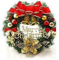 クリスマスリース 新年飾り 新年飾りリース 玄関ドア飾り 玄関ドアリース 北欧風 玄関リース ドア飾り 装飾 デコレーション X'mas 飾り 輪 緑 贈り物 造花 ギフト ゴールド 年末 冬 クリスマスパーティ 店舗装飾 LEDライト 電池式 40CM 50CM 60CM (レッド「LEDライド付き」, 40CM)