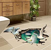 Faaddd かもめ3Dステレオリムーバブルウォールステッカー寝室浴室トイレクリエイティブ防水自己粘着絵画60×90センチ