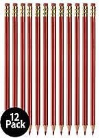 Grading Checking 消せる鉛筆 削り済み #2 HBレッド鉛筆 消しゴム付き 12本パック