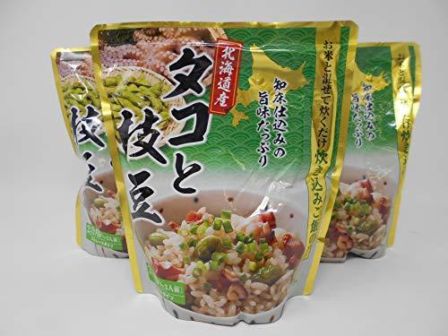 炊き込みご飯の素 北海道産タコと枝豆 2合用 3個セット