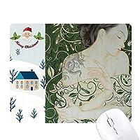 美しさのつるヘビ中国風の水彩画 サンタクロース家屋ゴムのマウスパッド