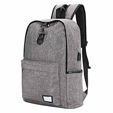 Bagerly リュックサック 大容量 リュック 軽量 型崩れしにくい 通勤 通学 男女兼用 USB充電ポート付 灰/紺色 2色選択 (灰)