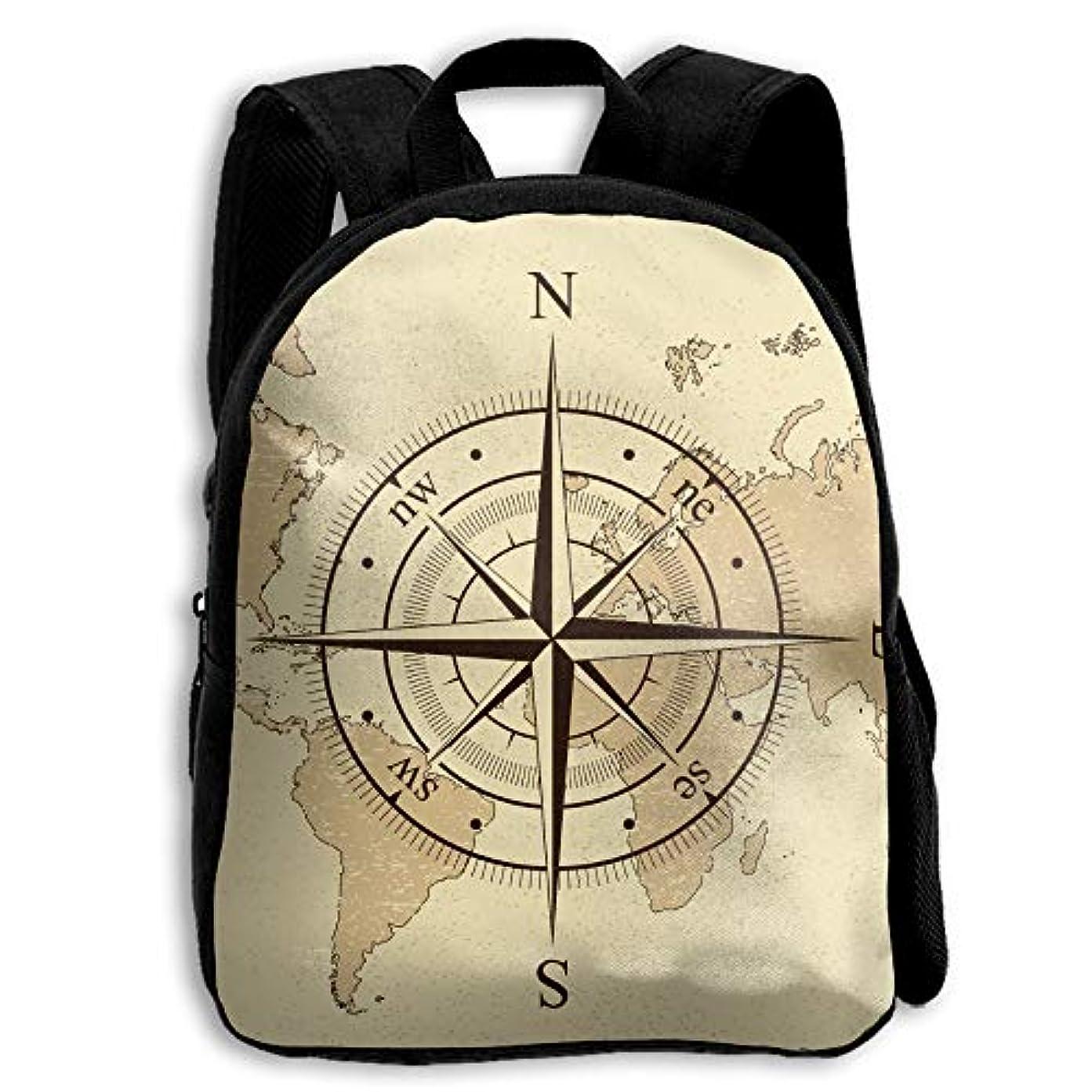 メイドお願いします添加キッズ リュックサック バックパック キッズバッグ 子供用のバッグ キッズリュック 学生 ビンテージ マップ 指針 七大州 アウトドア 通学 ハイキング 遠足