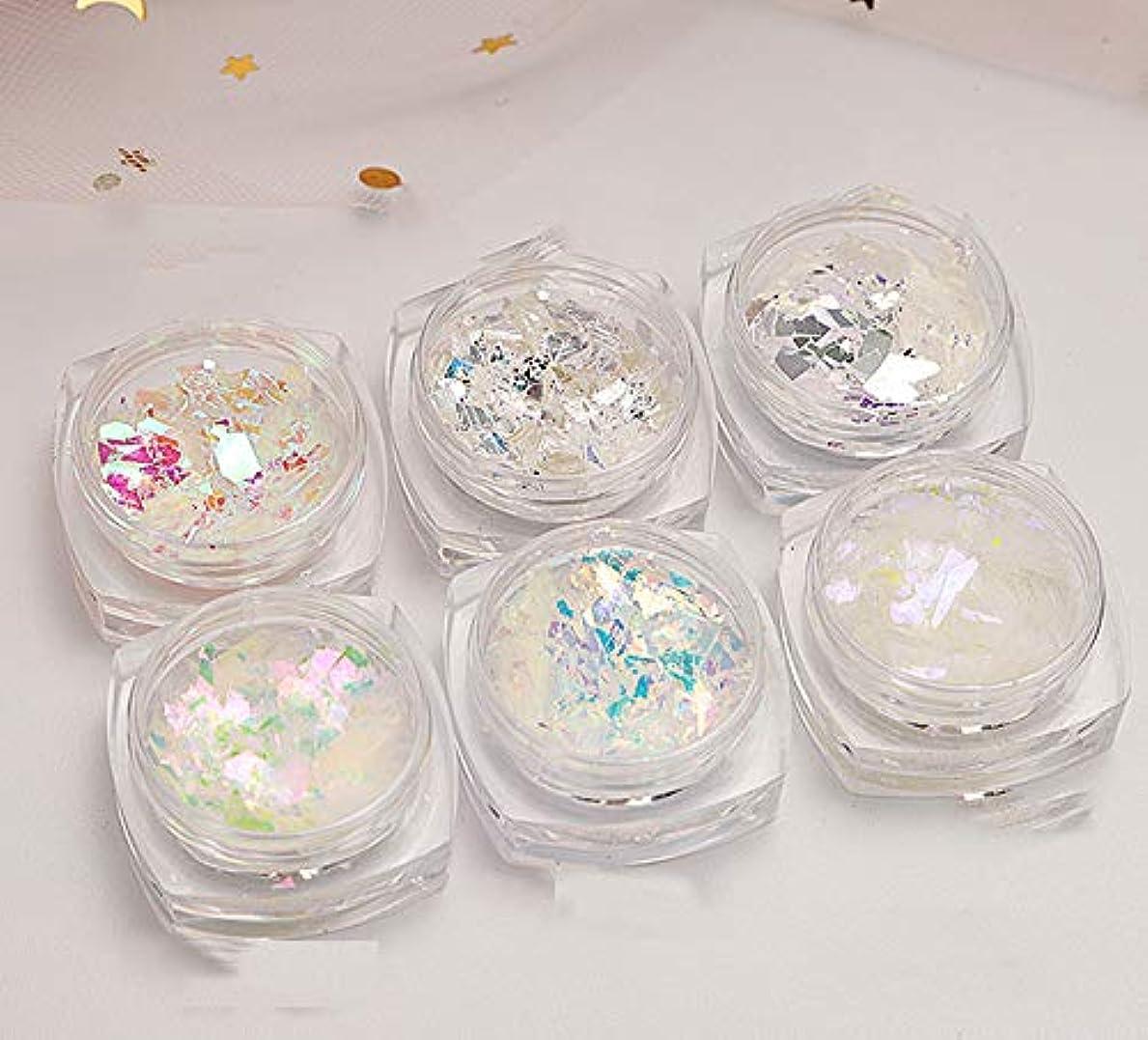 アヒル未知の成熟Takarafune ネイル ホログラム ネイルパーツ オーロラホワイト 乱切 6色セット ミラーアートホイル ネイルアート箔 ジェルネイル用品