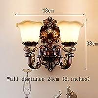 Weiyue 壁灯- ヨーロッパスタイルの壁ランプリビングルームのランプ高級レトロ寝室のベッドサイドウォールランプ新古典主義の壁ランプ (色 : ブラウン ぶらうん, サイズ さいず : 43x38cm)