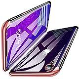 iPhone XR 専用 ケース クリア透明 TPU 全面保護 防塵 最軽量 耐衝撃メッキ加工 ソフトシェル Qi充電対応 スリム ソフトシェル シリコン スリム 薄型 滑り防止 一体型 人気 携帯カバー(ローズピンク/玫瑰金 1) QH01-06