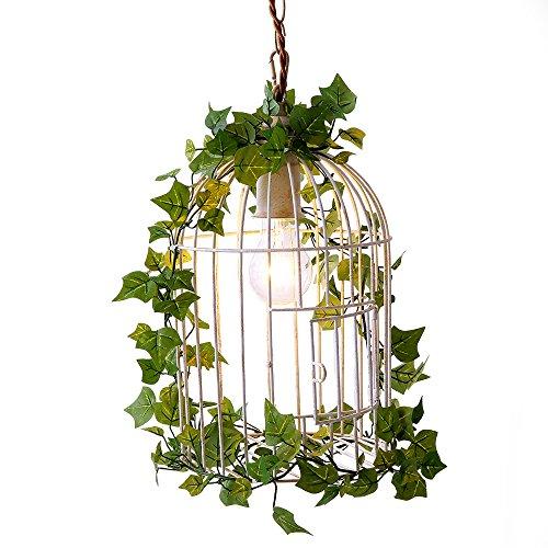 LOWYA 鳥かご 鳥かごライト グリーン 蔦付き ペンダントライト 天井照明 LED ホワイト