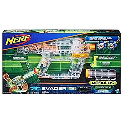 Nerf Modulus - Ghost Ops Evader - Customizable Motorised Blaster - Lights Up Green Neon - inc 12 Elite Darts & Dart Clip - Ages 8+
