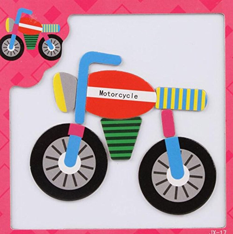HuaQingPiJu-JP 創造的な教育的な磁気パズルアーリーラーニング番号形状色の動物のおもちゃファンタスティックギフトキッズ(モーターバイク)