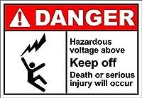 上記の危険電圧は危険を避けてください 金属板ブリキ看板注意サイン情報サイン金属安全サイン警告サイン表示パネル