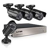 ZOSI 130万画素防犯カメラセット 防犯カメラ 4台 セット フルハイビジョン 高性能 ミニ 8ch AHDデジタルレコーダー(録画機) (HDD 1TB)