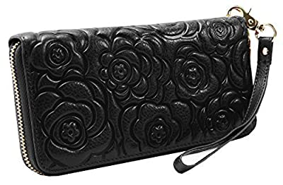 Heshe Womens Leather Long Wallets RFID Blocking Zippered Around Purses Ladies Clutch with Wrist Strap