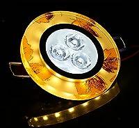 コリドーリビングルーム天井ランプライトシャンデリアクリスタルスモールランプ3W LED天井ダウンライト通路ライト10x 10cm、Yellow Maple Leaf