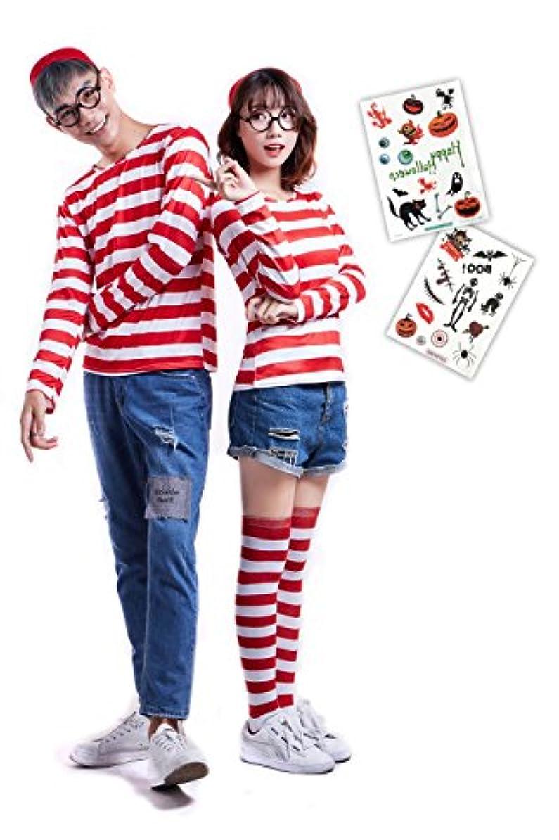 バッジホイットニー背が高いwemitas ハロウィン 衣装 ウォーリー風 コスプレ ボーダーシャツ 帽子 めがね 靴下 タトゥーシール セット (女性L)
