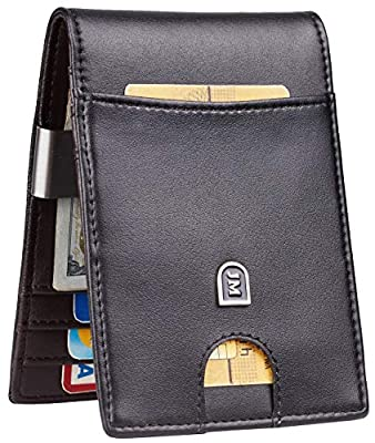 JM Mens Bifold Wallet Money Clip RFID Blocking Travel Wallet Credit Card Holder