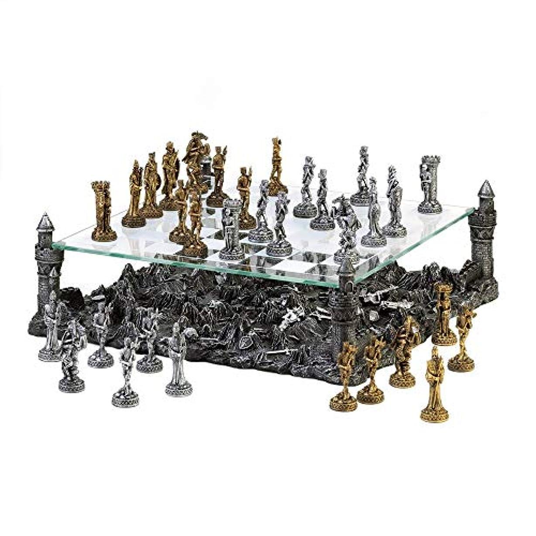 Lucky-gift - バトルグラウンド チェスセット - チェスボード グラスセット ヴィンテージゲームピース チェッカーケース 彫刻 ウッド クリア - つや消しベベルセット クリスタルドラゴン ファンタジーフィギュア