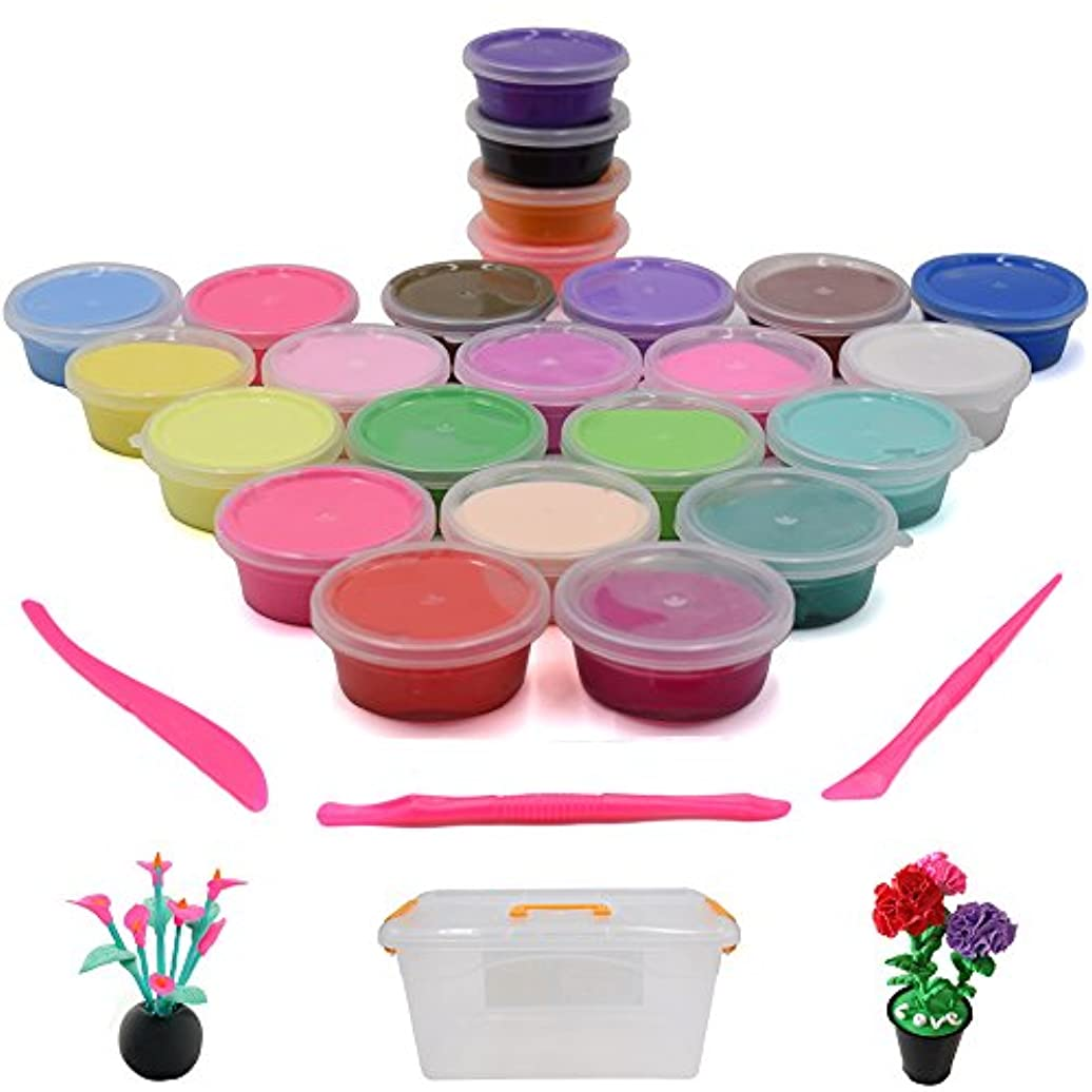 Seprovider Plasticine Modelling Clay Artist Studio Toy, 24-Pack of Bright Colours Clay Set, Kids' Art Clay & Dough w/ Storage Box & Clay Tools, Super Soft & Never Dries Out