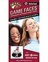 University of Alabama ( UA ) Crimson Tide – Waterless Peel & Stick Temporary Tattoos – 12-pieceコンボ – 8 Crimson AロゴSpirit Tattoos & 4ホワイトAロゴonブラックEye Strips