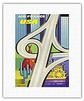 USA(アメリカ) - フリーウェイ&アメリカンアイコン - エアフランス - ビンテージな航空会社のポスター によって作成された c.1960 - キャンバスアート - 28cm x 36cm キャンバスアート(ロール)