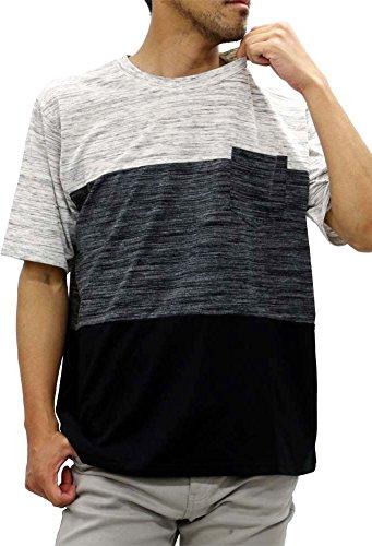 [コントライブ] 大きいサイズ メンズ Tシャツ 半袖 配色 切替 ポケット付き