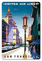 22cm x 30cmヴィンテージハワイアンティンサイン - サンフランシスコ、アメリカ合衆国 - 中華街 - ユナイテッドエアラインズ - ビンテージな航空会社のポスター によって作成された ジョセフ・バインダー c.1950s