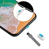 【1セット】ElekFX iPhone X/iPhone8Plus/8/7Plus/7用 ステレオLightningコネクタキャップ アルミ製 超耐久性 ダストピン 超薄型・カーブ型 固定用ホルダー同梱 防塵 防水 防砂ダストブラシ付き(ブルー)