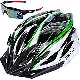 IZUMIYA 自転車 ヘルメット サイクリング 大人用 超 軽量 ロードバイク クロスバイク 通勤 高剛性 サングラス セット (ホワイト×グリーン)