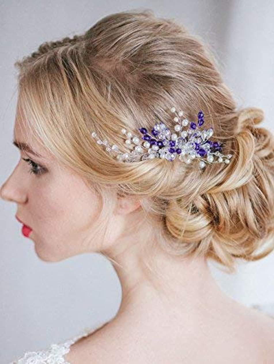 彼らは軍隊成人期FXmimior Bridal Wedding Vintage Crystal Rhinestone Vintage Hair Comb Hair Accessories Women Hair Jewelry [並行輸入品]