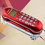 アンティーク電話有線電話レトロ壁掛け居間廊下ベッドサイド電話、壁掛けテーブルデュアルユース19.5cm * 8cm(l * w) ( 色 : 赤 )