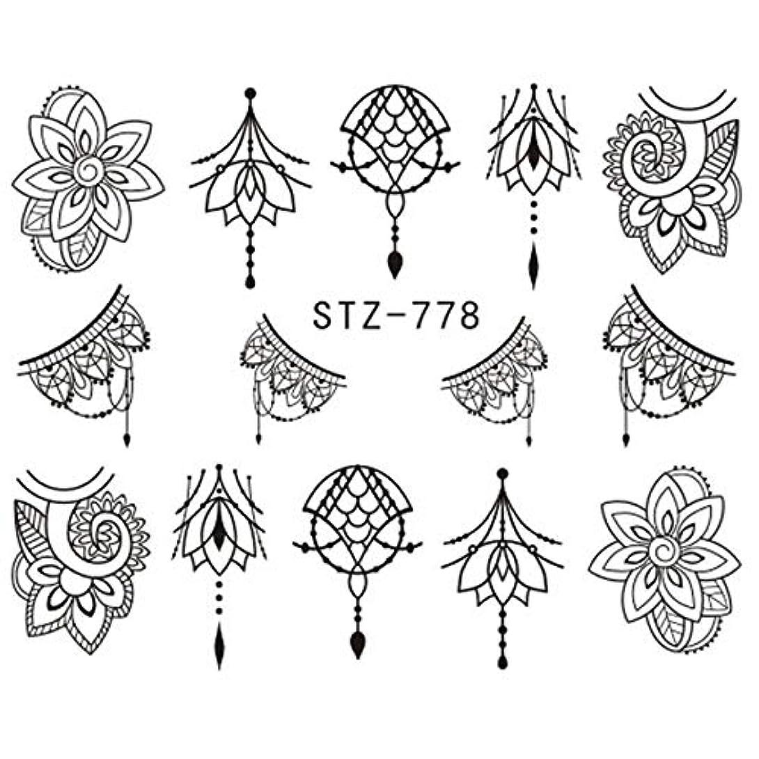 メイドアーティキュレーション懲戒CELINEZL CELINEZL 3 PCSウォーターデカールネイルステッカー(STZ766) (色 : STZ778)