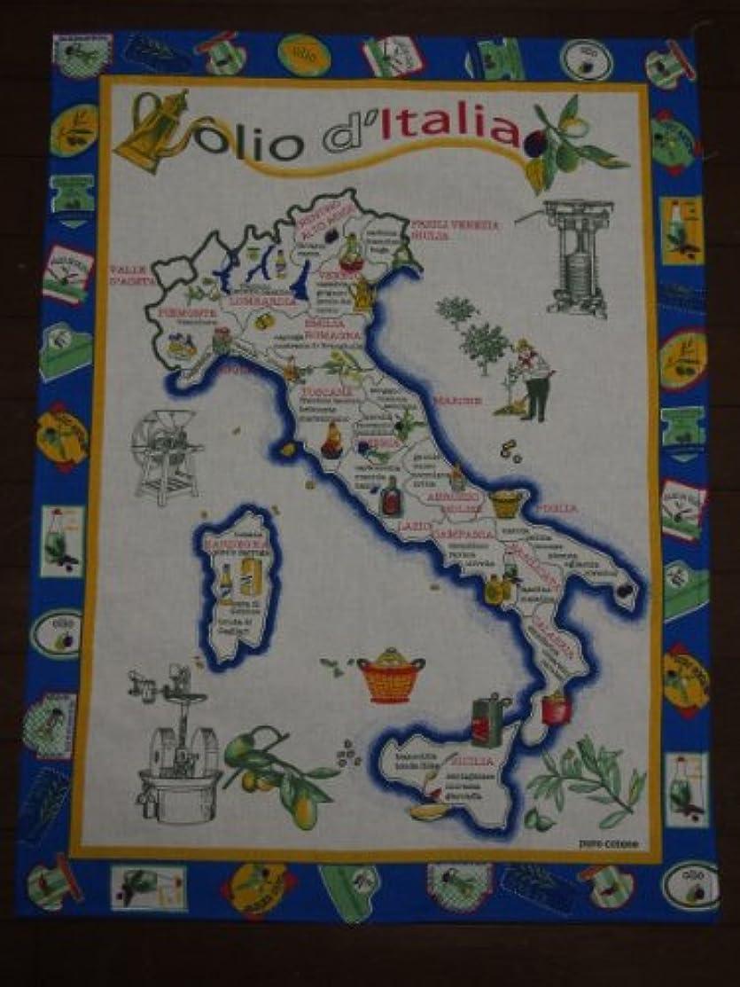 バイパス成熟行イタリア タペストリー Olio Italia ( イタリア オリーブオイル マップ ) / cm. 60×80 / 青色 / 100% cotone