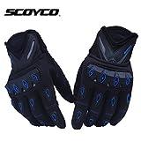 SCOYCO ベンチレーション ラバープロテクター パット付 バイク グローブ : 青 / Lサイズ