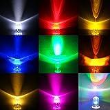 眩輝 LED 5mm 100個 セット 選べる6色! 砲弾 ラウンド 型 電球 20000 mcd 赤 黄 青 緑 ピンク 白 発光 ダイオード led ライト (青)