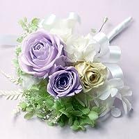 849【コサージュ】【結婚式、入学式、卒業式】プリザーブド バラ ライラックとミニローズ白と紫