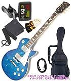 【入門用に最適!5点セット付き!】 BLITZ ( ブリッツ by アリア ) BLP-450 / SBL ( シースルーブルー ) レスポールスタンダードタイプ 人気のエレキギター入門機 ソフトケース付