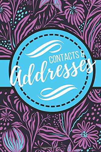 Contacts & Addresses: Blue and Purple Modern Flower Design