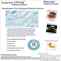 Luxury livingプレミアム低刺激性100% Terry防水マットレスプロテクターbyロイヤルホテル California King mattress-protector
