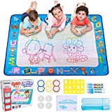 Hautton Aqua Magic Water Doodle Mat, 39.5 x 31.5 Inch Large Drawing Coloring Mat Painting Writing Board with 15 Accessories Educational Learning Toy  Toddlers Kids Boys Girls Age 2 3 4 5 6 7 8